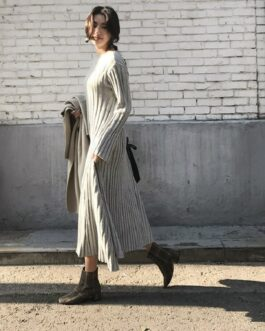 Korean Warm Knitting Elegant Vintage Long Dresses