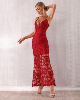 Lace Spaghetti Strap V Neck Maxi Club Celebrity Runway Party Dress