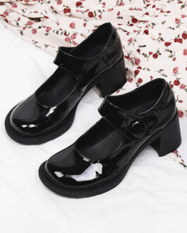 Loafers Round Toe Marry Jane Casual PU Leather Shoes