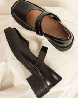 Loafers Square Toe Chunky Heel Casual Marry Jane Shoes