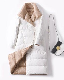 Long Casual Light ultra thin Warm Down puffer jacket