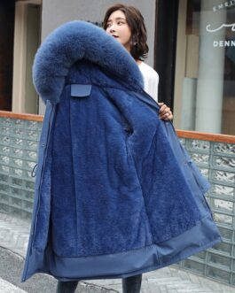 Long Cotton Large Fur Collar Slim Hooded Parkas Jacket