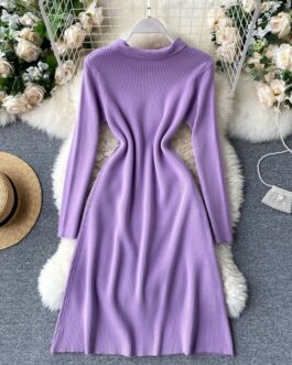 Long Sleeve Casual Loose A-line Thick Warm Sweater Dress