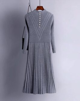 Long Sleeve Pleated Warm Street Wear Jumper Sweater Dress