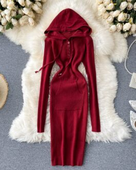 Long Sleeve Pocket Slim Elastic Bodycon Sweater Dresses