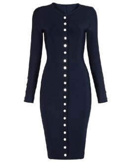 Long Sleeve Sexy Button Embellished Bandage Evening Party Dress