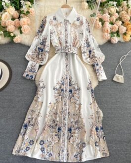 Long Sleeve Single Breasted A-line Maxi Dress