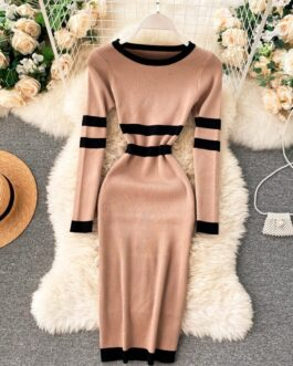 Long Sleeve Striped Elastic Bodycon Slim Pencil Sweater Dresses
