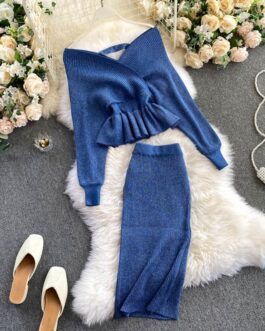 Long Sleeve Sweater Tops And High Waist Bodycon Skirt Two Pieces Set