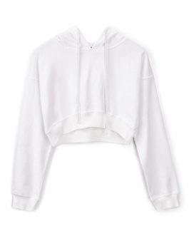 Long Sleeves Cotton Blend Drawstring Hooded Sweatshirt