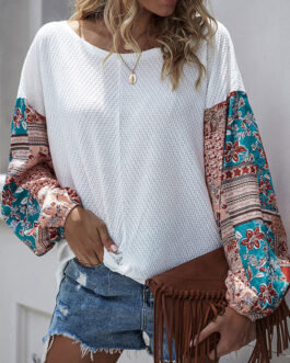 Long Sleeves Round Neck Boho Printed Tee Shirt