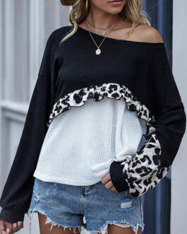 Long Sleeves Tees Round Neck Leopard Print T Shirt