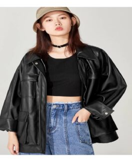 Loose Soft PU Leather Punk Streetwear Motor Biker Jacket