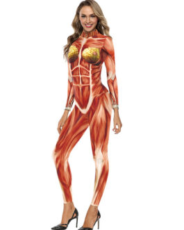 Muscle Print Attack On Titan Cosplay  Jumpsuit Costume