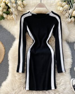 O Neck Long Sleeve Sexy Bodycon Streetwear Dresses