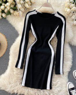 O Neck Long Sleeve Sexy Bodycon Streetwear Dresses