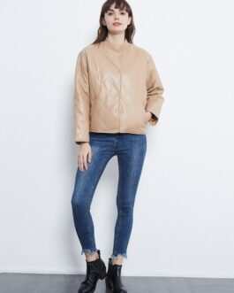 PU Faux Leather Long Sleeve Loose Casual Jackets