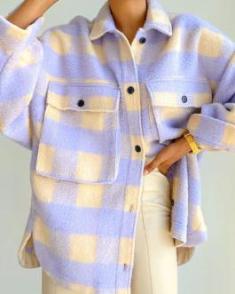 Patchwork Loose Long Sleeve Tweed Jacket