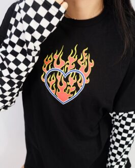 Plaid Fire Print Oversized Sweatshirt