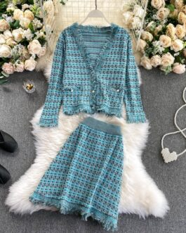 Plaid Knitted V Neck Long Sleeve Cardigan And High Waist Skirt Two Pieces Set