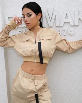 Pocket Pin Buckle Zipper Streetwear Jacket