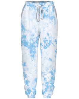 Polyester Raised Waist Printed Tie Dye Drawstring Trousers