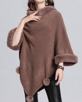 Poncho High Collar Layered Fringe Cape With Pom Pom