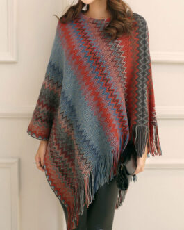 Poncho Jewel Neck Layered Fringe Color Block Cape