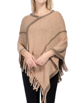 Poncho V-Neck Embroidered Patch Layered Fringe Wrap Cape