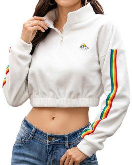 Pullover Sweatshirt Long Sleeves Zip Up Crop Tops