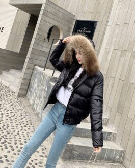 Real Raccoon Fur Long Sleeve Slim Hooded Pockets Heavy Coat
