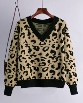 Retro Leopard V Neck Warm Elastic Jumper Sweater
