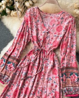 Retro Print Puff Sleeve Elastic Waist Ruffles A-line Fashion Boho Flower Holiday Dress