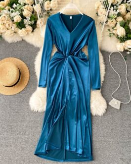Retro V Neck Long Sleeve Asymmetry Fashion Sexy Split Midi Long Dresses