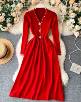 Retro V Neck Pearl Button A-line Elegant Solid Sweater Dress