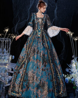 Rococo Victorian Retro Flare Sleeves Costume Dress