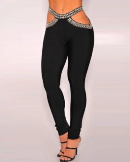 Sexy Hollow Out Beading Long Bandage Runway Club Pant