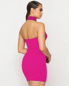 Sexy Lace Halter Sleeveless Beading Mini Club Dresses
