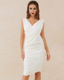 Sexy Tank V Neck Sleeveless Draped Runway Bodycon Dresses