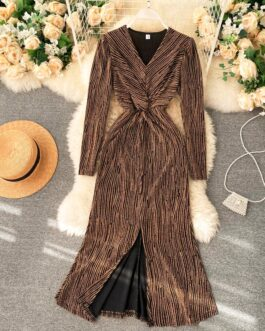 Sexy V Neck Long Sleeve Elegant Split Party Dress