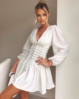 Sexy V Neck Long Sleeve Mini Runway Party Dresses