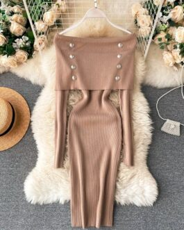 Slash Neck Off Shoulder Vintage Bodycon Sweater Dresses