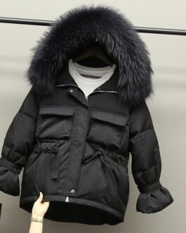 Slim Jackets Large Natural Raccoon Fur Hooded Coat