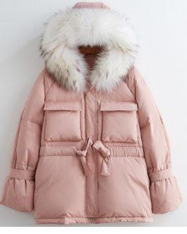 Slim Jackets Large Natural Raccoon Fur Hooded Coat
