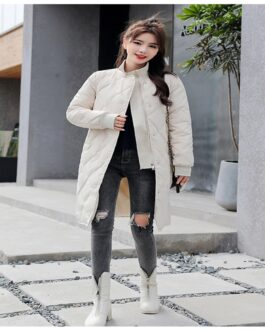 Slim Solid Fashion Parkas Cotton Padded Coat