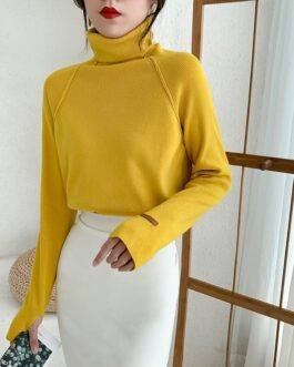 Solid Turtleneck Pullovers Minimalist Tops Sweater
