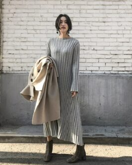 Solid Warm Knitting Elegant Vintage Fashion Simple Style Dress