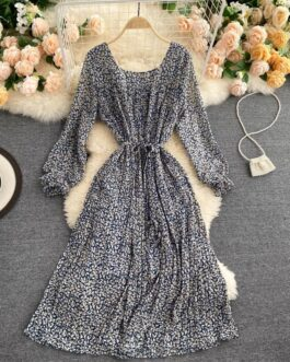 Square Collar Puff Sleeve Lace up A-line Bohemian Print Pleated Midi Long Dress