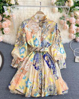Stand Collar Button Long Sleeve A-line Streetwear Short Dress