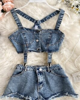 Strapless Tank Tops Denim Ripped Shorts Two Piece Set